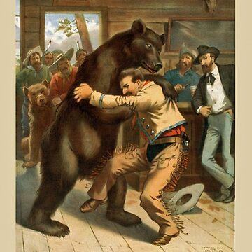 Vintage - Retro Book Cover Art - Bear Wrestling  by DubyaP