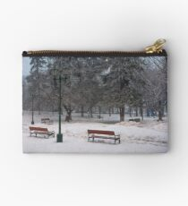 city park with benches and lantern in hoarfrost Studio Pouch