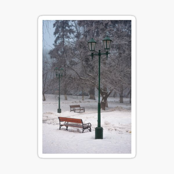 city park with benches and lantern in hoarfrost Sticker