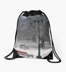 city park with benches and lantern in hoarfrost Drawstring Bag