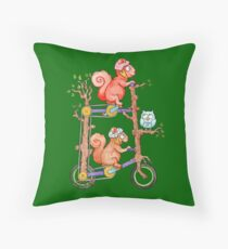 2 Squirrels on a Tall Bike Watercolor Throw Pillow