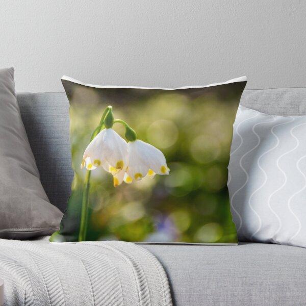 Beautiful blooming of White spring Snowflake Throw Pillow