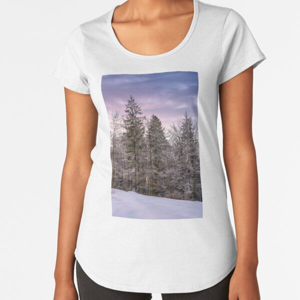 forest in hoarfrost on snowy hillside at dawn Premium Scoop T-Shirt