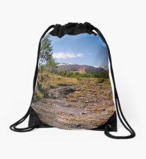 Carpathian alpine countryside in springtime Drawstring Bag