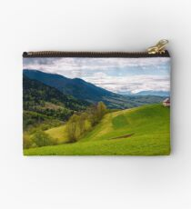 wooden shed on grassy hillside Studio Pouch