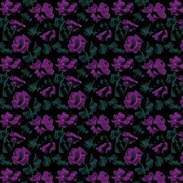 Purple flowers on black background  by fuzzyfox