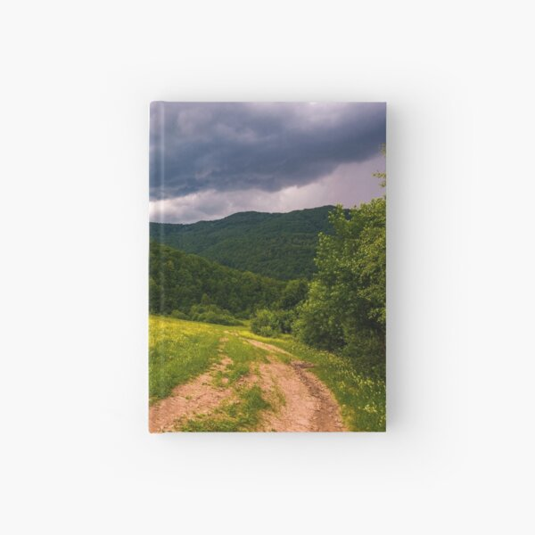 grassy field on hillside in stormy weather Hardcover Journal