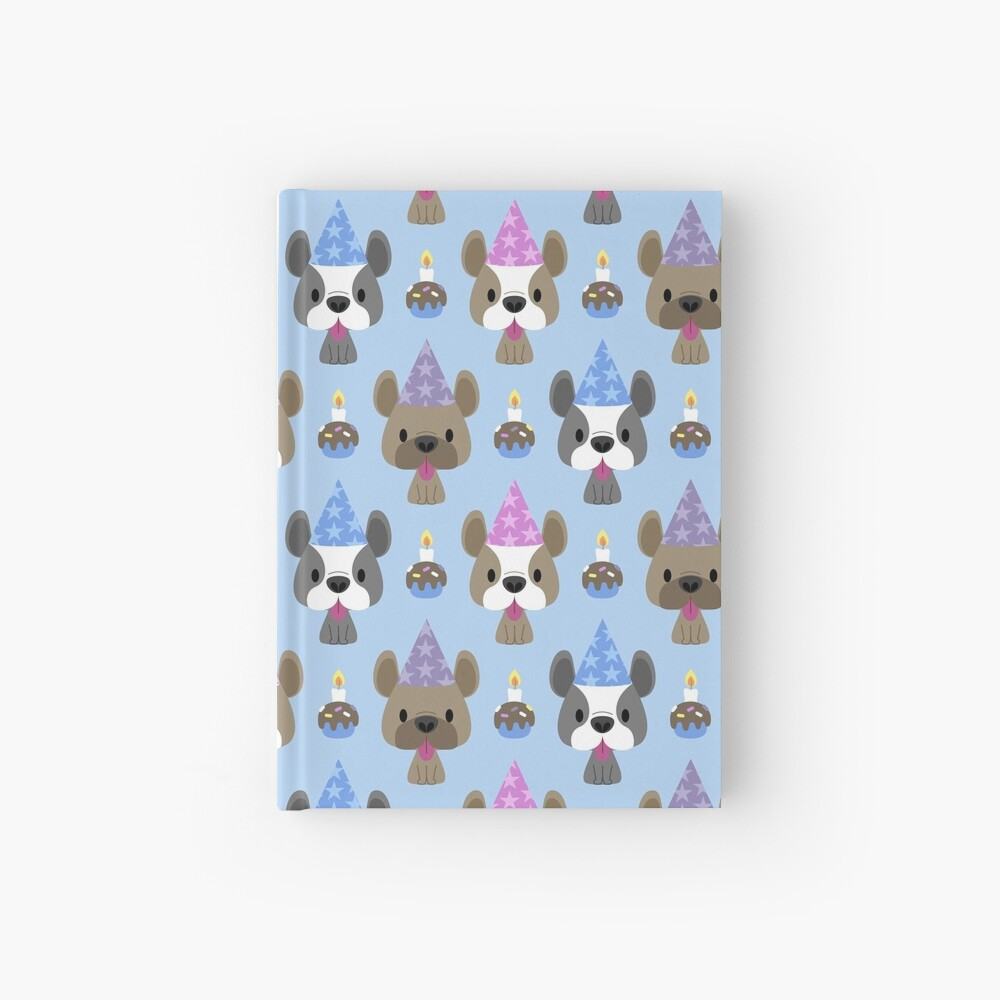 Birthday party for French bulldogs Hardcover Journal