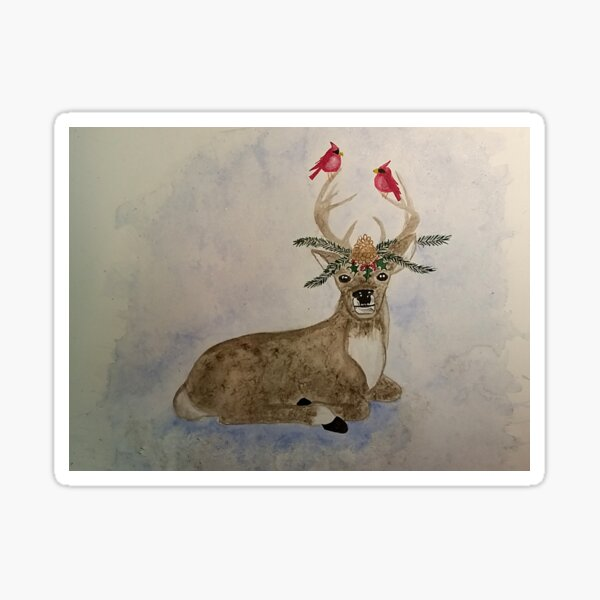 John Deer - Christmas deer, cardinals Sticker