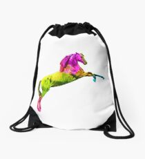Colorful Arabian horse Drawstring Bag