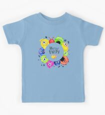Hand drawn round frame with watercolor funny monster heads Kids Clothes