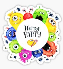 Hand drawn round frame with watercolor funny monster heads Sticker