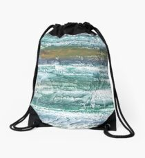 Green blue stained watercolor texture Drawstring Bag