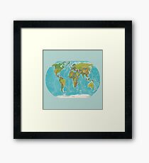 Topographic Map of the World Framed Print