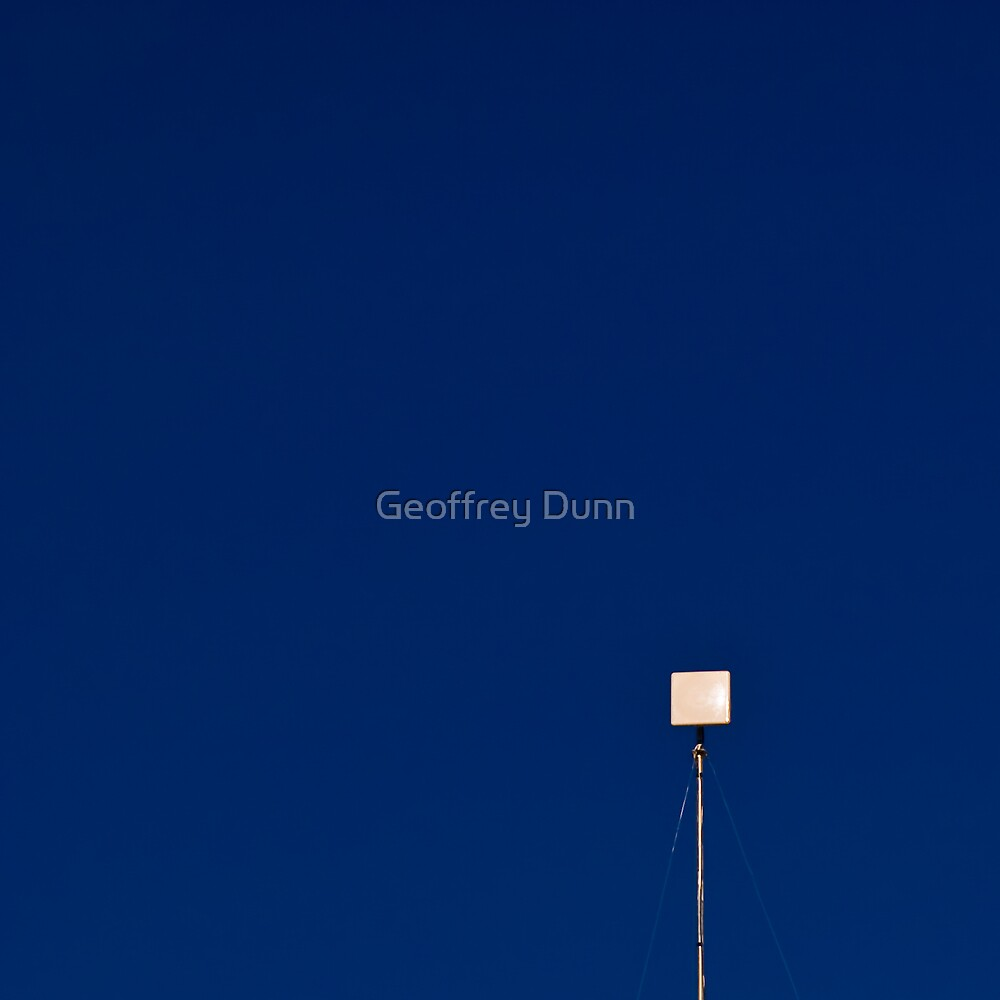 White Square on Blue by Geoffrey Dunn