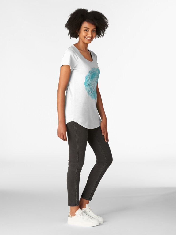 Alternate view of Blue Sky Mandala in Turquoise Blue and White Premium Scoop T-Shirt