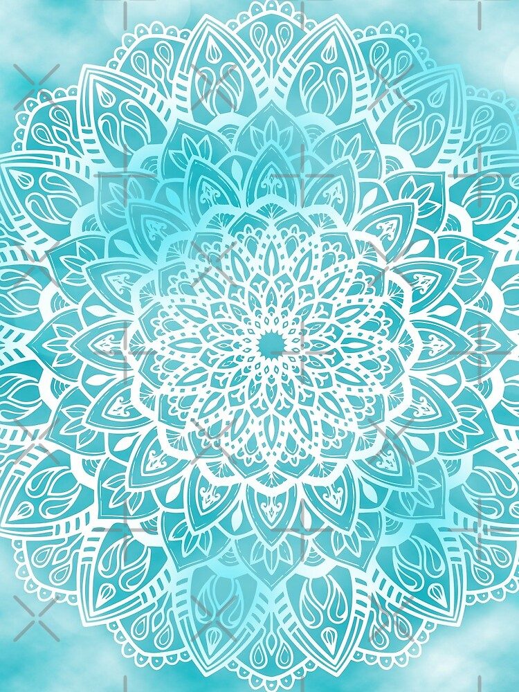 Blue Sky Mandala in Turquoise Blue and White by kellydietrich