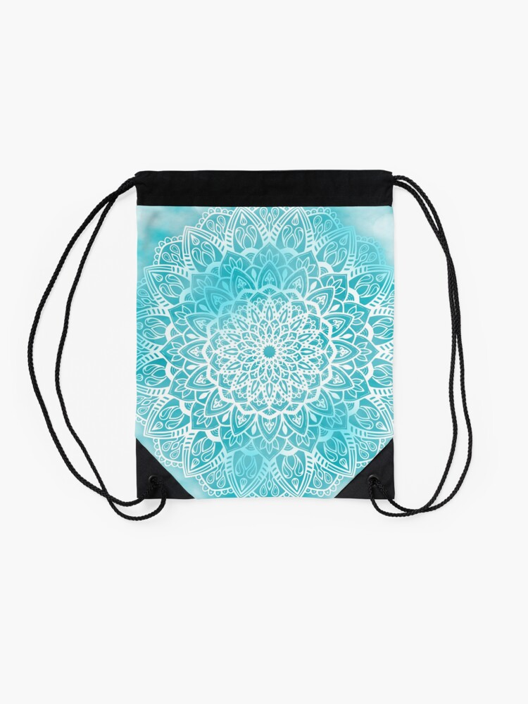 Alternate view of Blue Sky Mandala in Turquoise Blue and White Drawstring Bag