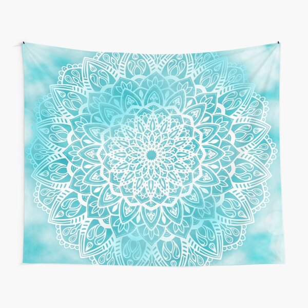 Blue Sky Mandala in Turquoise Blue and White Tapestry