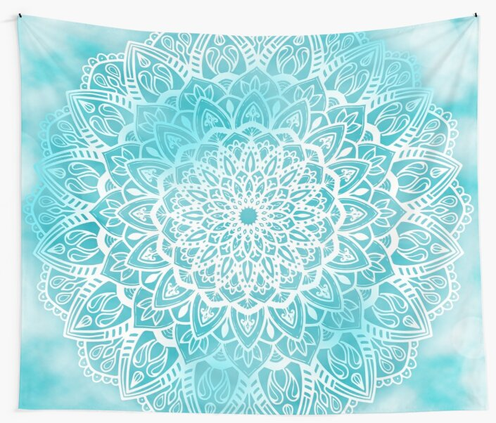 Blue Sky Mandala in Turquoise Blue and White by Kelly Dietrich