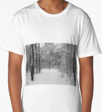 Winter forest is covered with snow Long T-Shirt