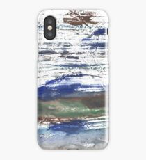 Brown Blue abstract watercolor paper iPhone Case/Skin