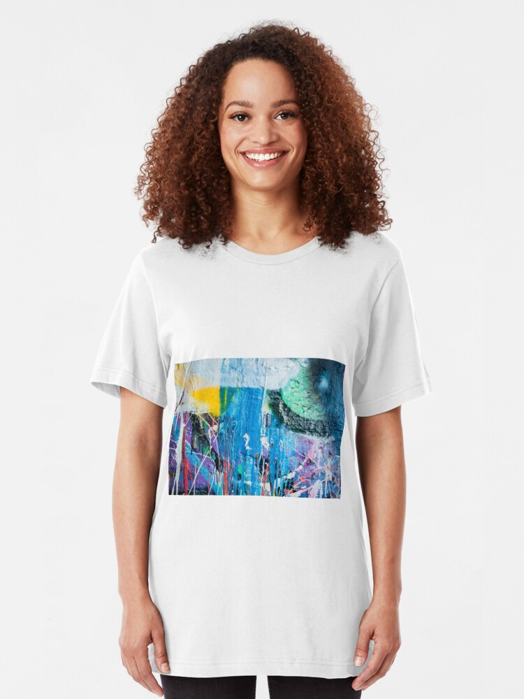 Alternate view of Dripping paint graffiti wall Slim Fit T-Shirt