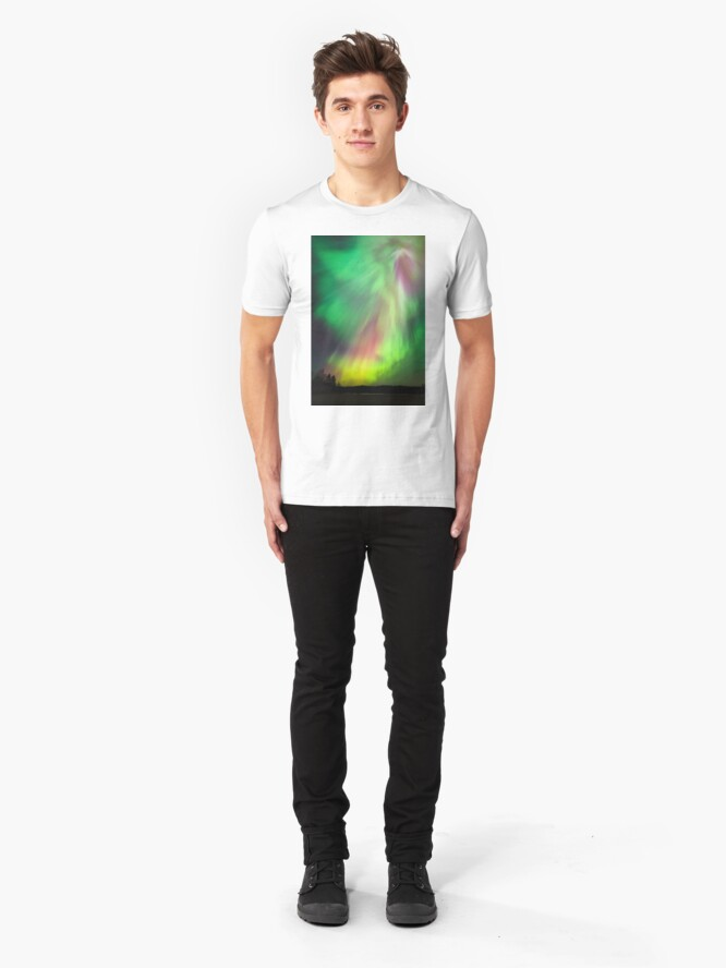 Alternate view of Big beautiful multicolored northern lights Slim Fit T-Shirt
