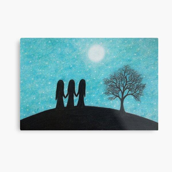 Three Sisters, Moon, Stars and Tree Metal Print