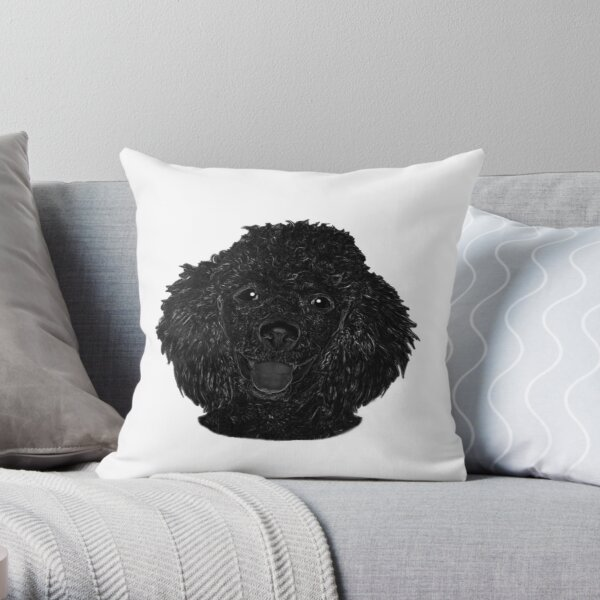 Cute Black Beautiful Poodle Puppy Throw Pillow