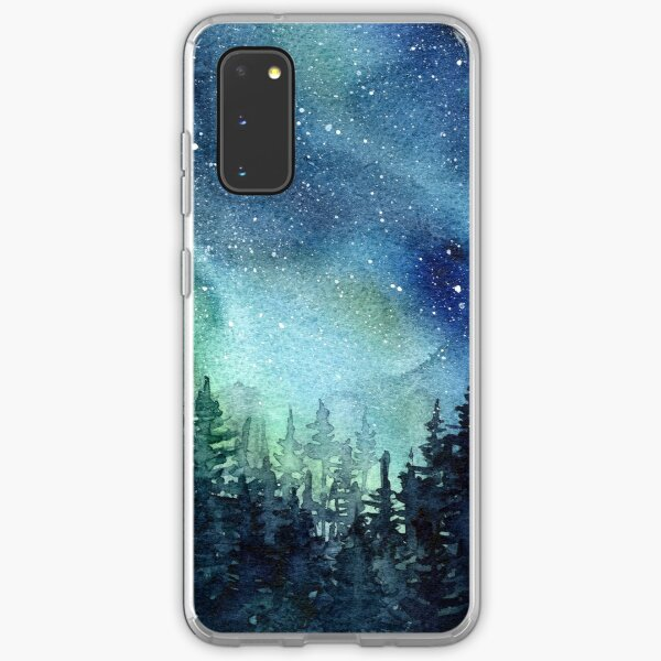 Watercolor Galaxy Nebula Aurora Northern Lights Painting Samsung Galaxy Soft Case