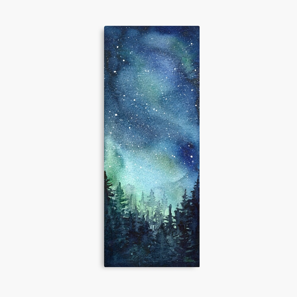 Watercolor Galaxy Nebula Aurora Northern Lights Painting Canvas Print