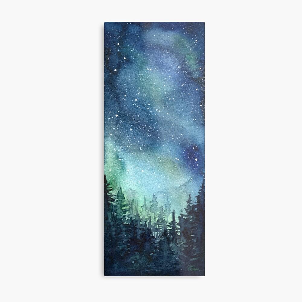 Watercolor Galaxy Nebula Aurora Northern Lights Painting Metal Print