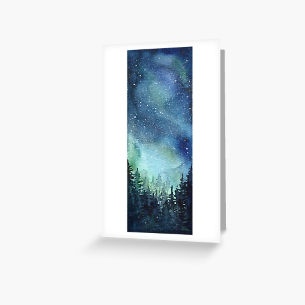 Watercolor Galaxy Nebula Aurora Northern Lights Painting Greeting Card