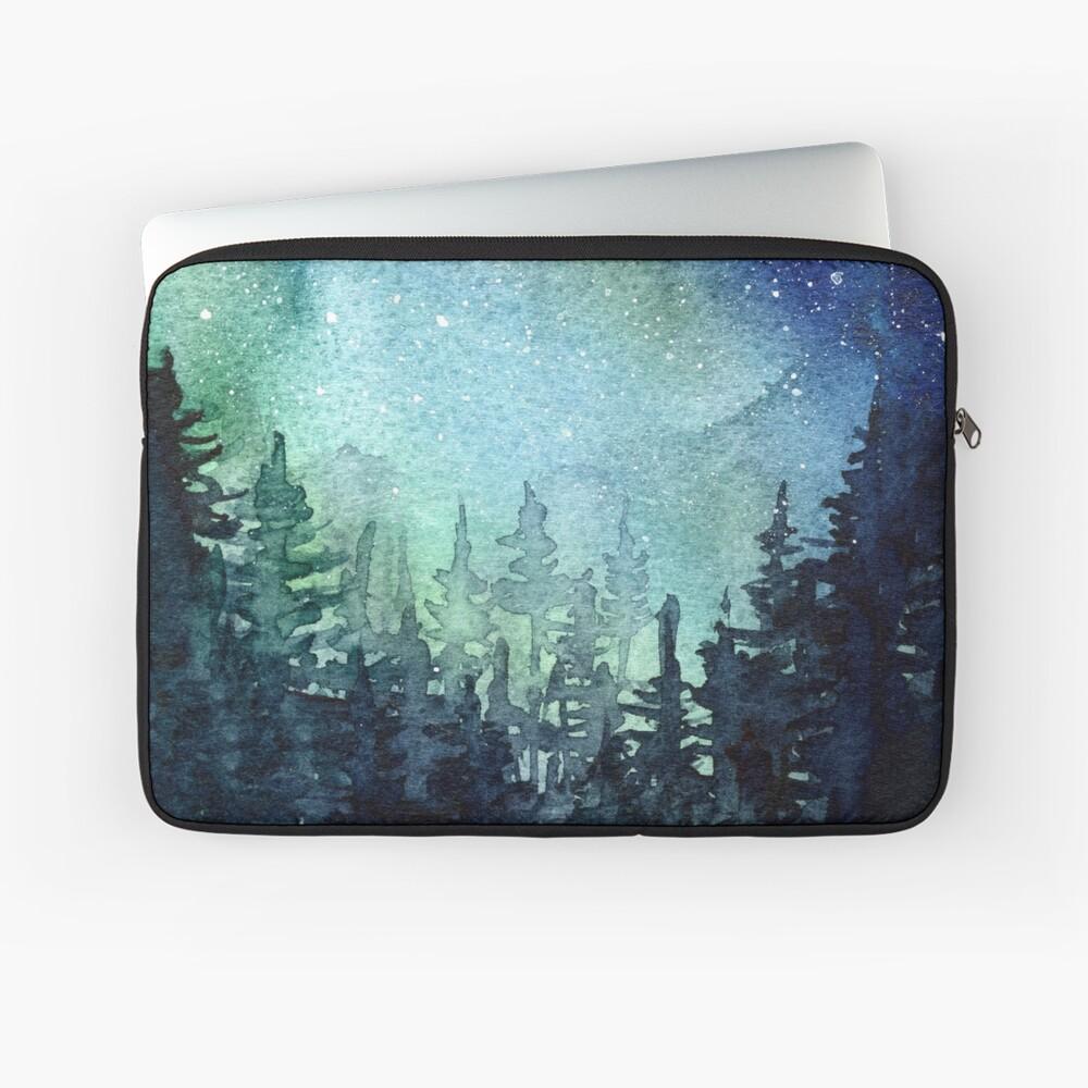 Watercolor Galaxy Nebula Aurora Northern Lights Painting Laptop Sleeve