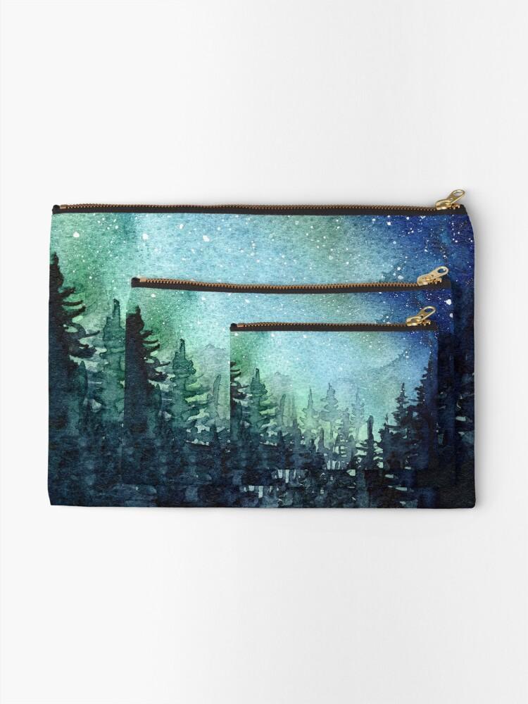 Alternate view of Watercolor Galaxy Nebula Aurora Northern Lights Painting Zipper Pouch