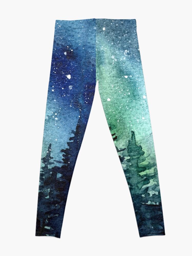 Alternate view of Watercolor Galaxy Nebula Aurora Northern Lights Painting Leggings