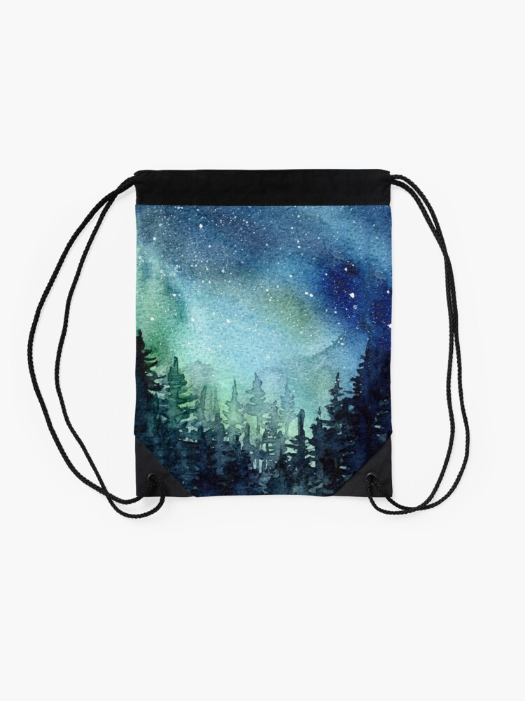 Alternate view of Watercolor Galaxy Nebula Aurora Northern Lights Painting Drawstring Bag