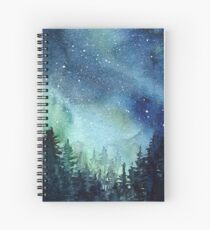 Watercolor Galaxy Nebula Aurora Northern Lights Painting Spiral Notebook