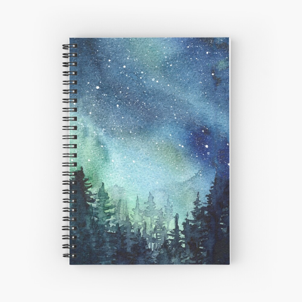 Watercolor Galaxy Nebula Aurora Northern Lights Painting Spiral Notebook