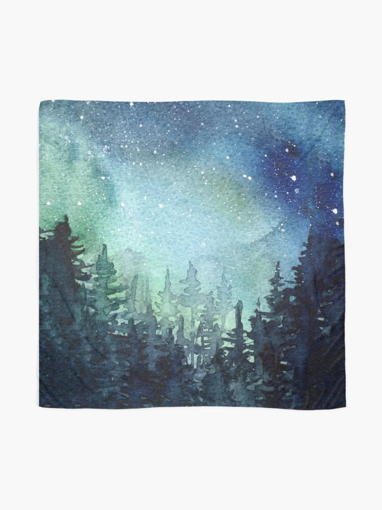 Alternate view of Watercolor Galaxy Nebula Aurora Northern Lights Painting Scarf