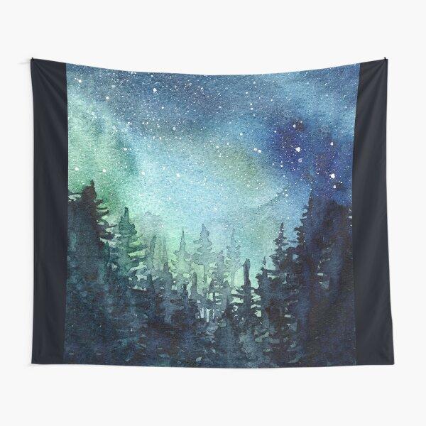 Watercolor Galaxy Nebula Aurora Northern Lights Painting Tapestry
