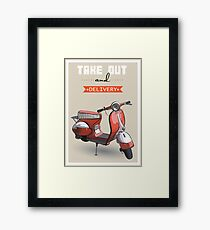 illustration of a retro scooter poster Framed Print