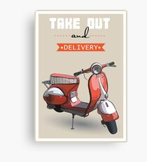 illustration of a retro scooter poster Canvas Print