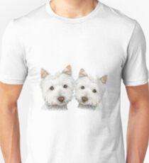 Two Cute Westie Dogs Art T-Shirt