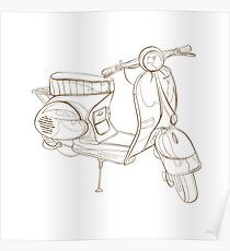Illustration of a retro scooter. Poster