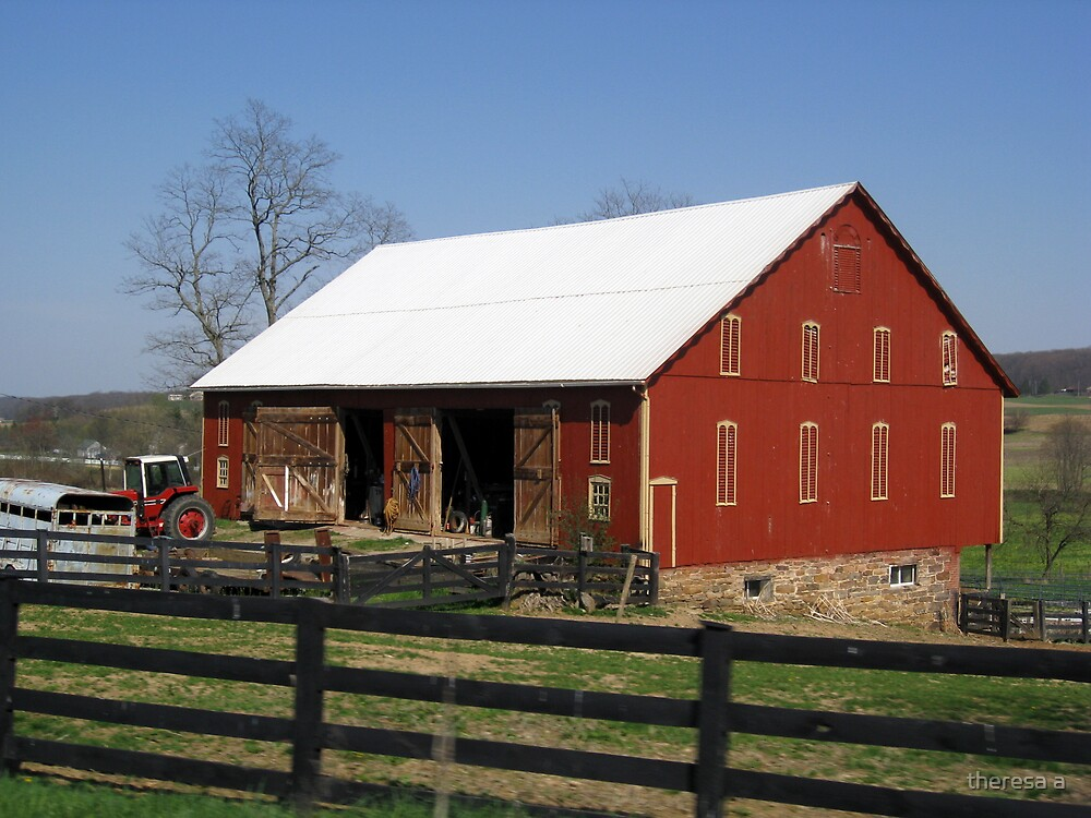 RED BARN AND A FENCE by theresa a