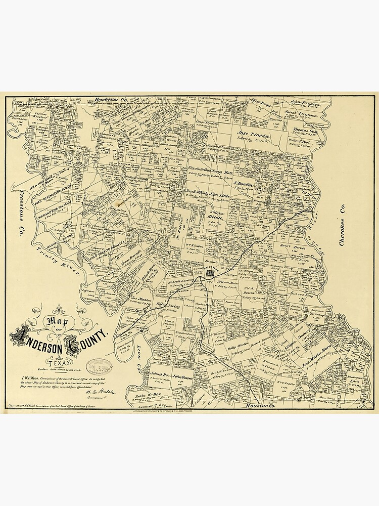 Poster Many Sizes; Map Of Cherokee County Texas 1879