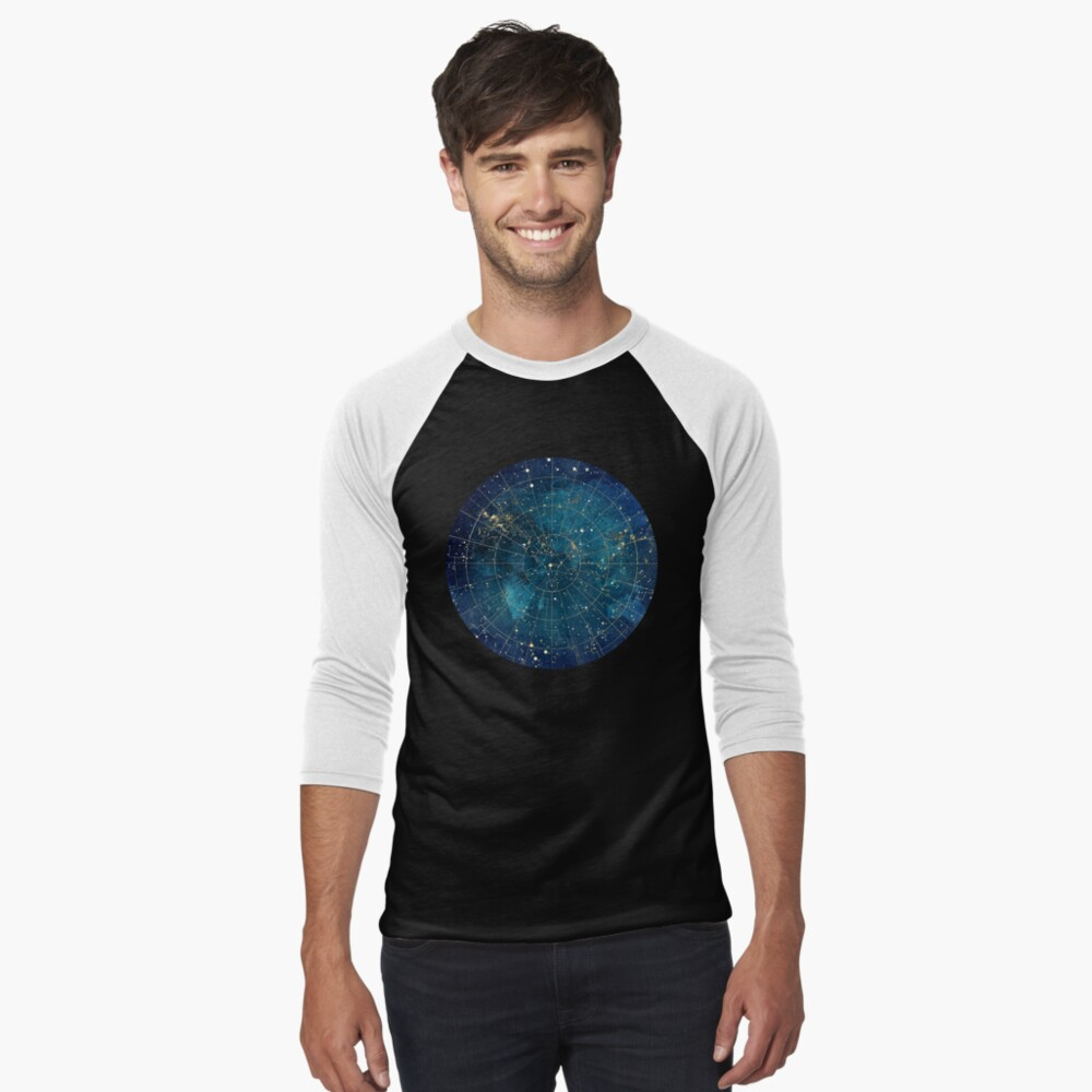Star Map :: City Lights Baseball ¾ Sleeve T-Shirt