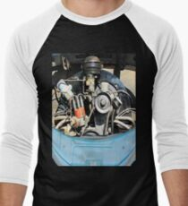 1960 VW Beetle Engine as Art Men's Baseball ¾ T-Shirt